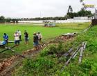 Muro do estádio Ary Ferreira cai durante chuva | Portal Obidense