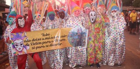 O guardião do Mascarado Fobó, apresentou suas alas aos foliões na Arena Fobódromo na noite de segunda-feira (04)