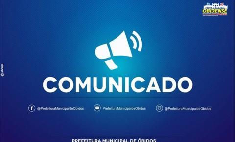 Em comunicado a prefeitura de Óbidos informa, devido a mudança na titularidade do responsável pelo semsa e poderá ter atrasos em movimentações financeiras