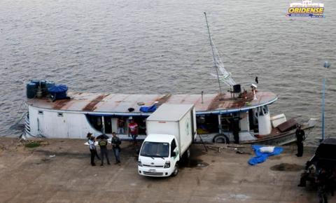 Em Óbidos, Polícia Federal apreende embarcação com mais de 20 toneladas de pescado.