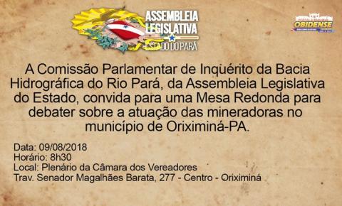 Deputados da CPI desembarcarão em Oriximiná para visitar mina e convidam a população para uma mesa redonda