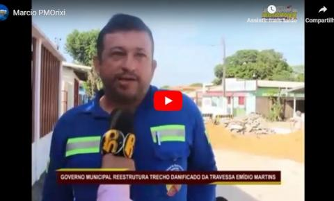Prefeitura de Oriximiná reestrutura travessa Emídio Martins após rompimento de adutora que causou interrupção do abastecimento de água no domingo e comprometeu trecho da rua