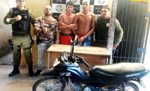 Em Alenquer polícia prende em flagrante, Gavião e Teco, e ainda procura Macaquinho por roubo de moto.