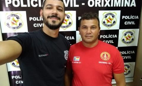 Delegado Fonseca da Polícia Civil de Oriximiná, emite nota de agradecimento ao bombeiro Marivan.