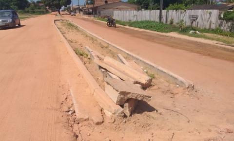 Moradores da rua Arthur Bernardes reclamam de obra realizada na via pela prefeitura municipal de Óbidos