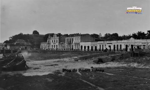 Frente da cidade de Óbidos em fins da década de 1950