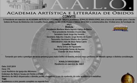 AALO fará solenidade de posse da diretoria e do Conselho fiscal nesta terça-feira (23) em Óbidos