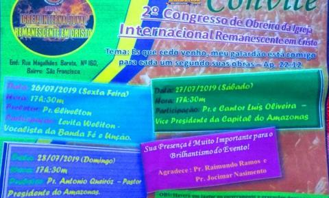 Igreja Internacional Remanescente em Cristo (IIRC), se prepara para o segundo congresso de Obreiro da Igreja