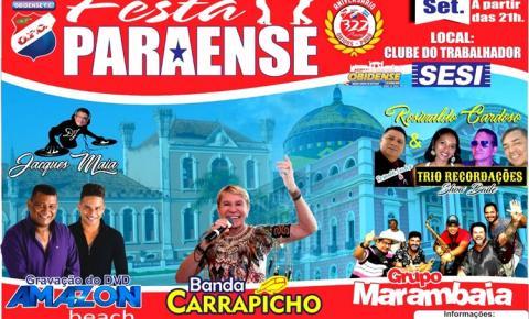 Diretoria do Obidense anuncia oficialmente o Baile Paraense Aniversário de Óbidos no SESI em 28 de setembro