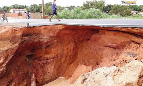 Em Óbidos, PA-437 não resiste a água da chuva e parte é destruída | Portal Obidense