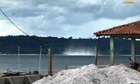 Morador de Faro registra Tromba d'água que se formou em frente a cidade | Portal Obidense