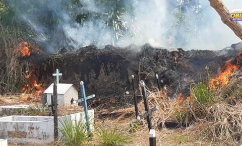 Fogo coloca em risco descanso eterno no cemitério municipal de Óbidos | Portal Obidense