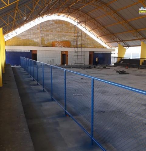 Quadra da escola Irmã Firmina está em fase de conclusão   Portal Obidense