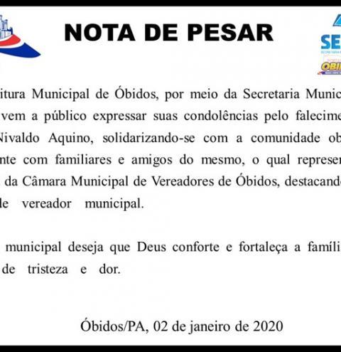 Prefeito de Óbidos, Chico Alfaia, decreta luto oficial, em razão do falecimento do vereador Nivaldo Aquino   Portal Obidense